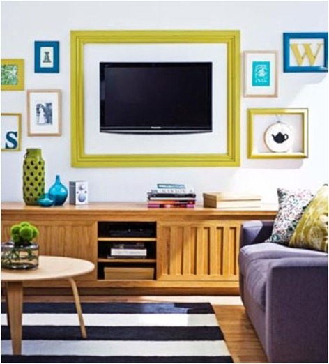 colorful frame around tv
