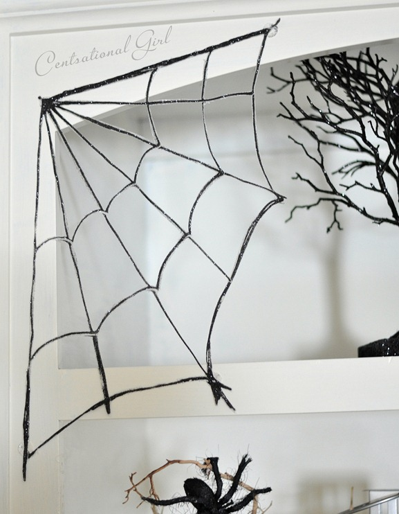 corner glittery spider web