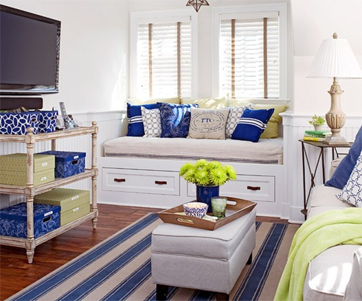 flat screen blue and white room bhg