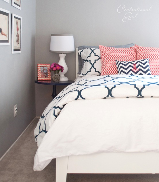 Navy Coral Bedroom Centsational Girl