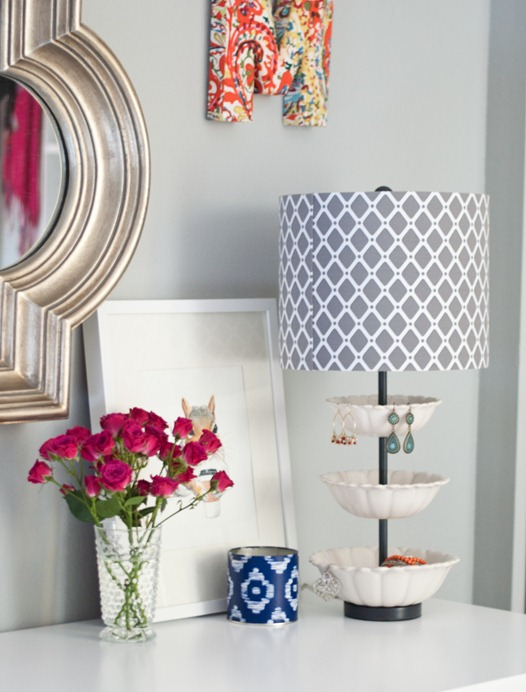 jewelry holder lamp on desk