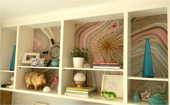 marbled paper bookcases gorgeous shiny things