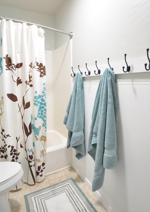 Instead of a towel bar, I thought towel hooks were much better for a ...