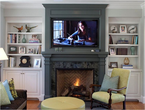 tv above mantel with bookcases