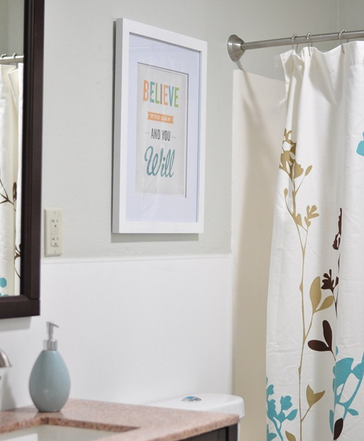 wall art and shower curtain