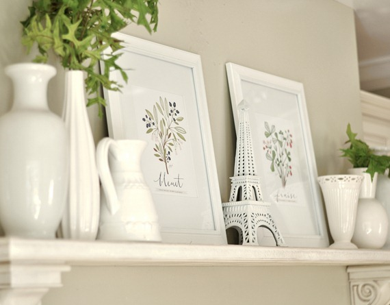 white mantel and prints