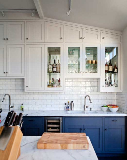 blue lower white upper two tone cabinets