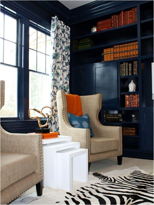 blue walls and bookcases porter design