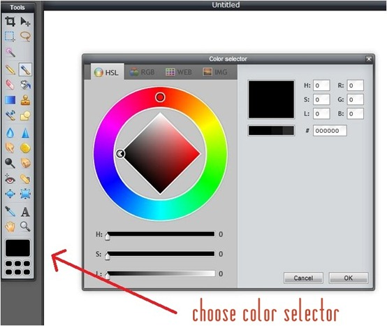 choose color selector tool