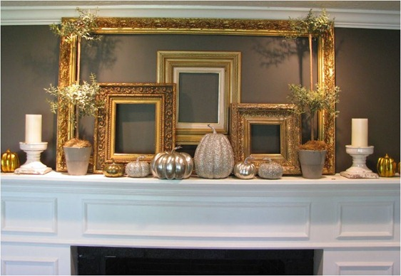 gold and glittery mantel joysofhome