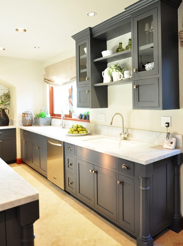 Gray Kitchen Cabinets With Green Walls