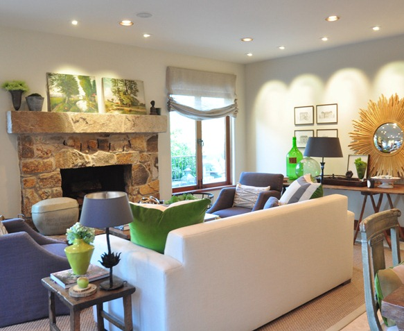 green accents in family room