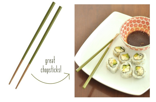 green dipped chopsticks
