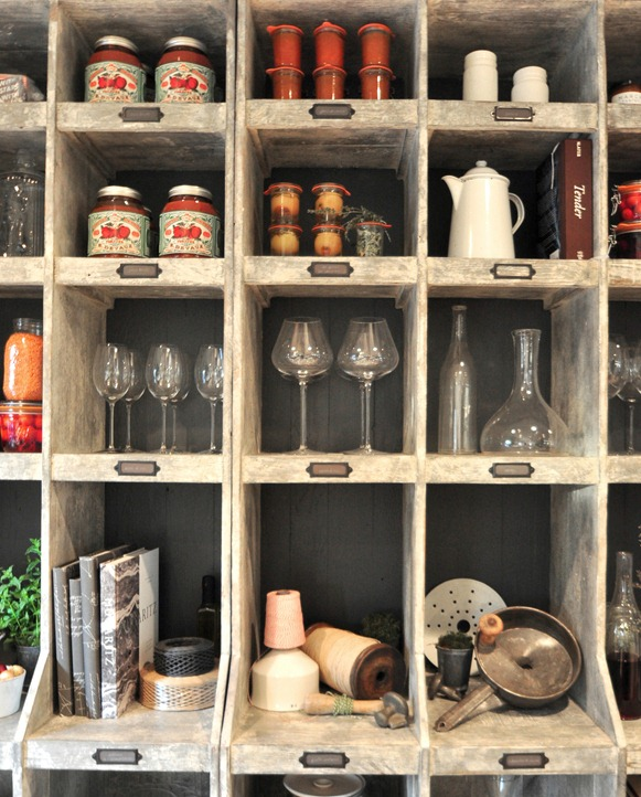 kitchen shelving up close