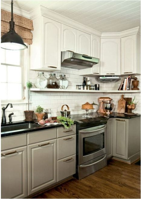 lower gray upper white cabinets