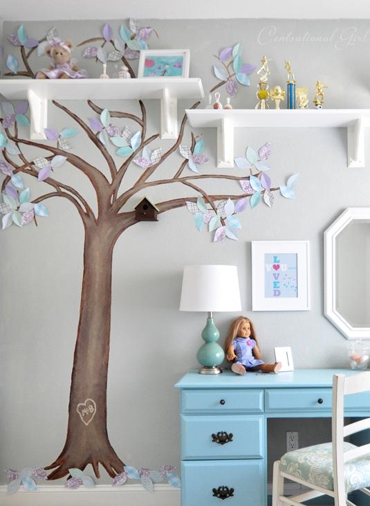 paper leaf tree mural centsational girl