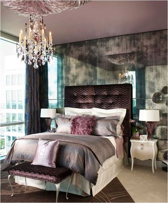 smoky mirrored wall plum palette