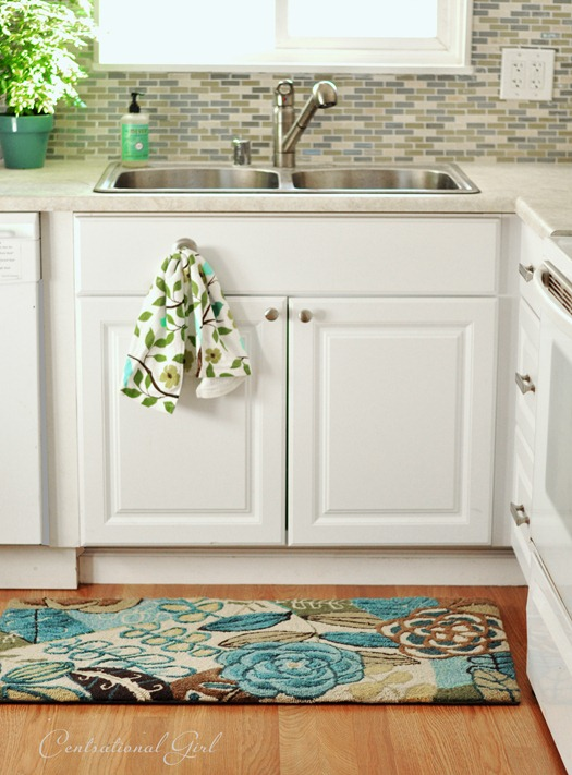 white kitchen sink and rug centsational girl