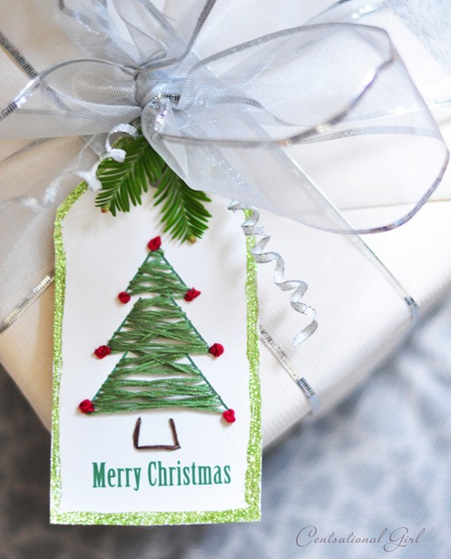 christmas tree embroidered gift tag