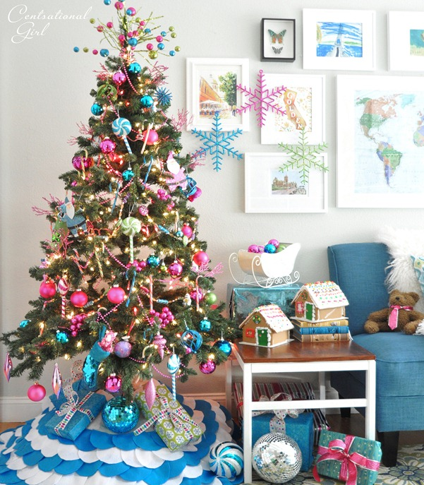 Candy colored christmas tree centsational girl for Candy xmas tree decoration