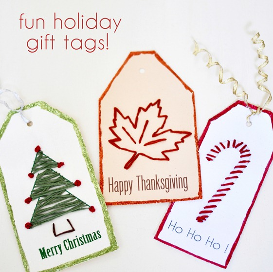 embroidered holiday tags