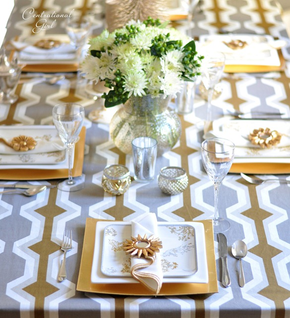 gold and silver tablescape