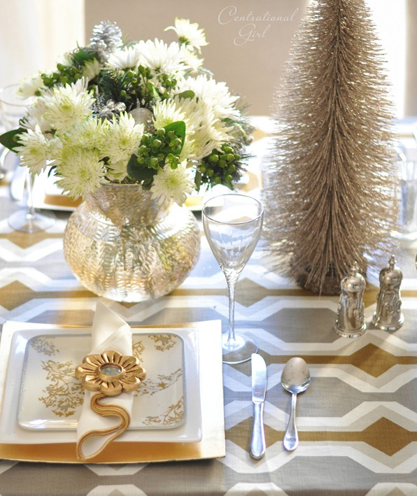gold with silver place setting