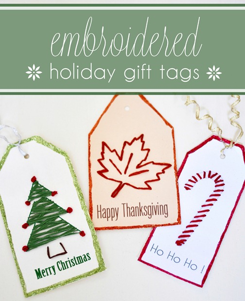 holiday embroidered gift tags