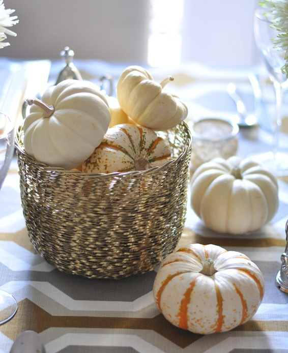 pumpkins in gold bowl