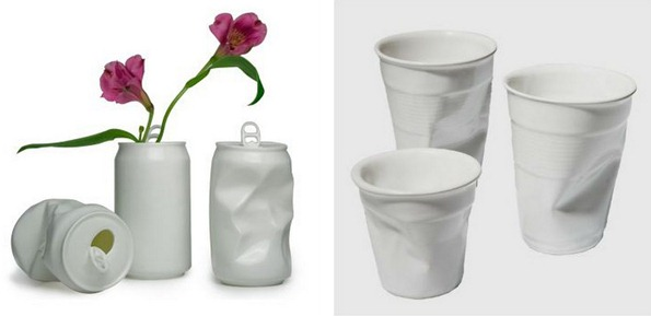 recycled cans and cup vases