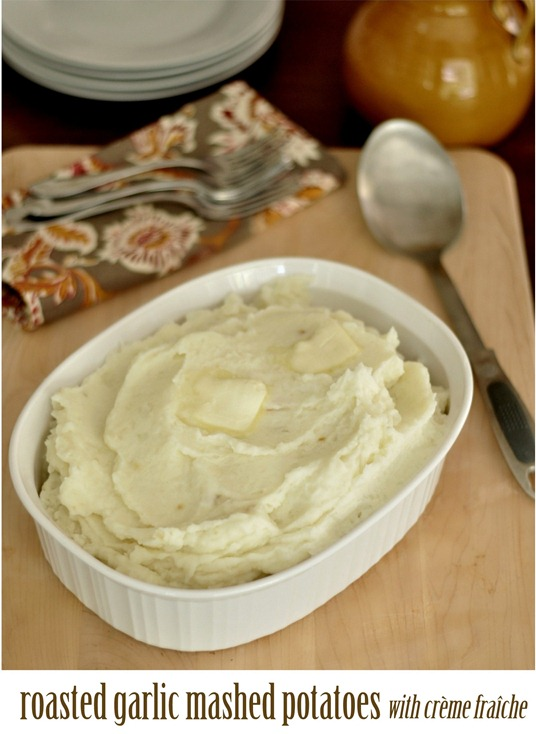 roasted garlic mashed potatoes with creme fraiche