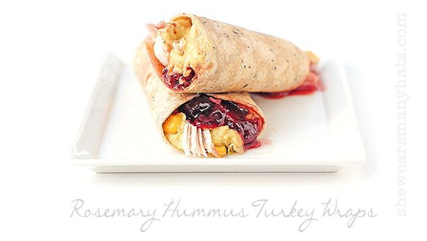 rosemary hummus turkey wraps
