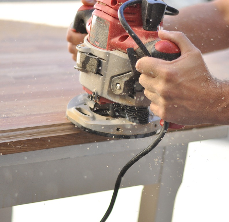Countertop Edge Router Bits : Make sure you cut on a steady surface ? we used an old table we set ...
