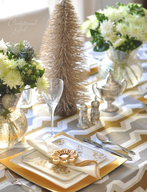 silver and gold holiday place setting