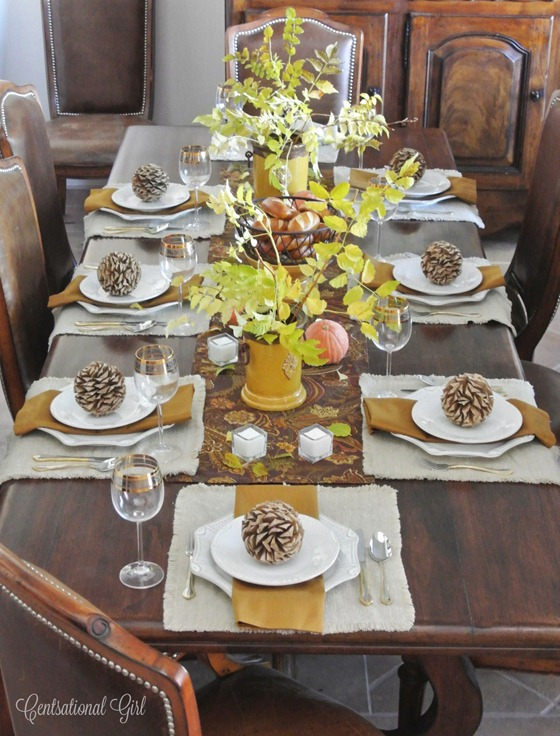 thanksgiving table with mustard accents
