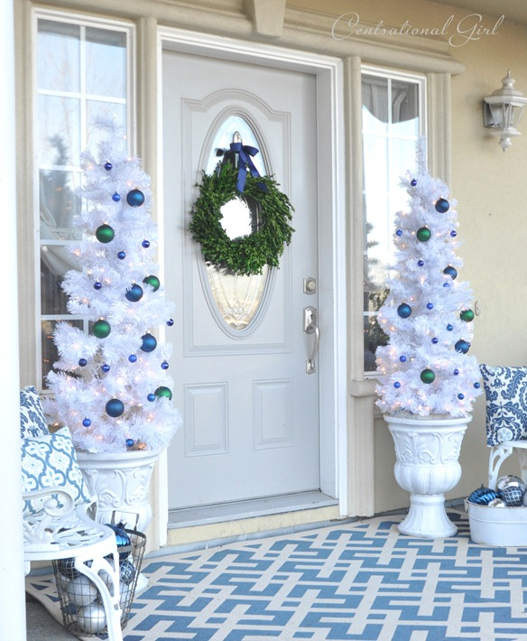 blue and white christmas porch