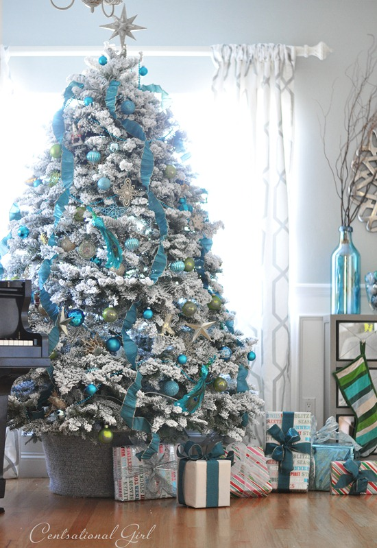 blue and white christmas tree centsational girl