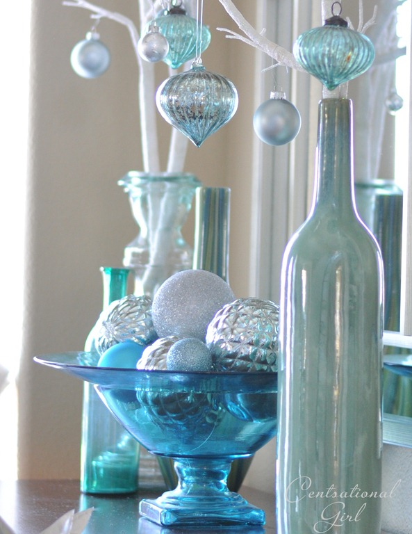 blue glass bowl with ornaments