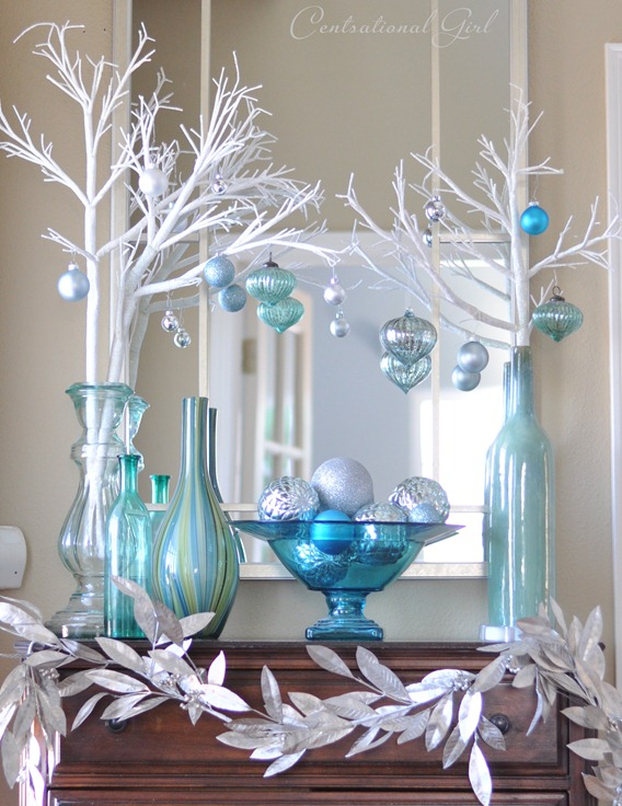 branches and bowl of ornaments