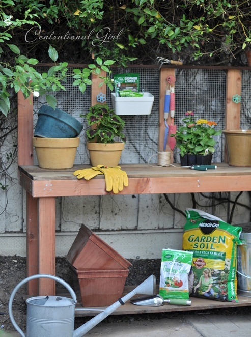 diy redwood potting bench
