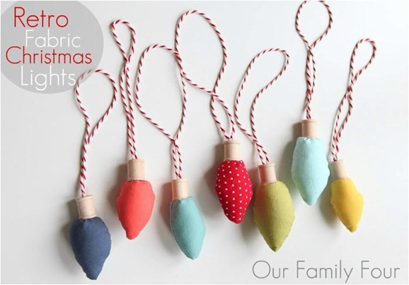 retro fabric christmas light ornaments ourfamilyfour