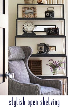 stylish open shelving