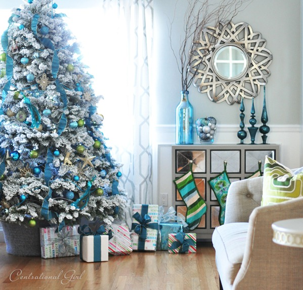 White christmas tree with blue and green decorations - photo#3