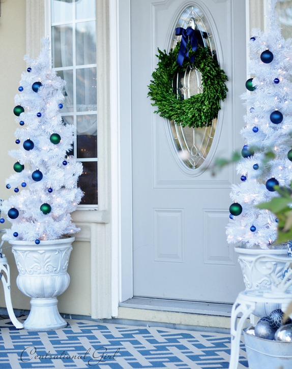 white trees on porch