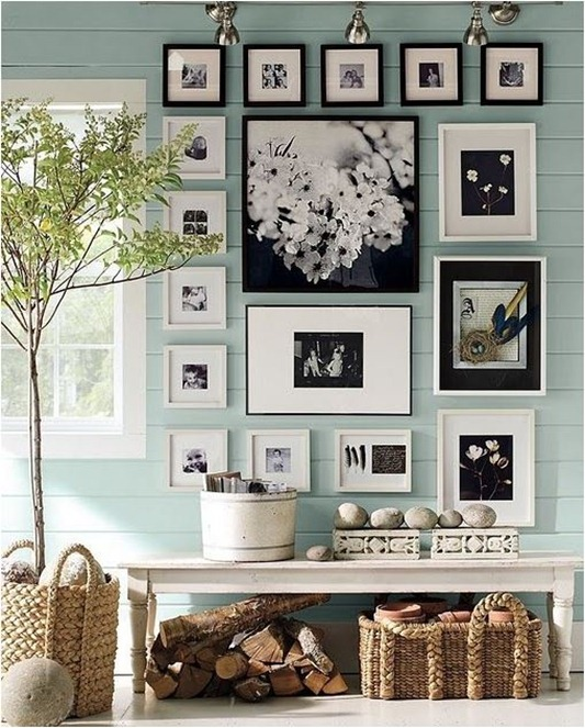 black and white photo display pottery barn
