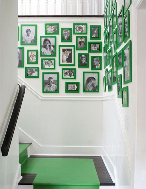 black and white photos in green frames bhg