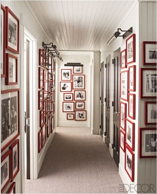 black and white photos in red frames