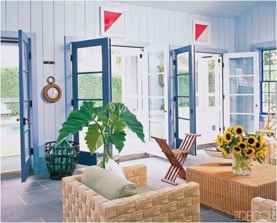 blue painted doors elle decor