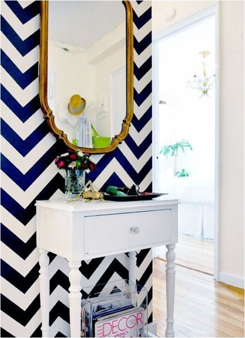 navy chevron wall