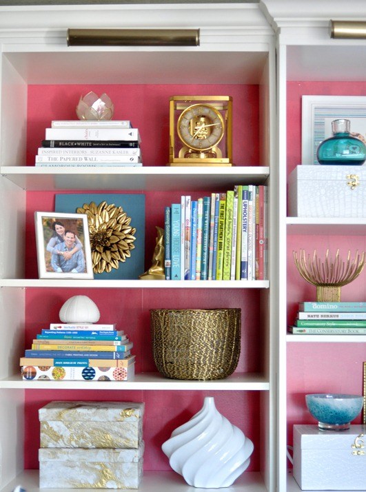 pink back to bookcases